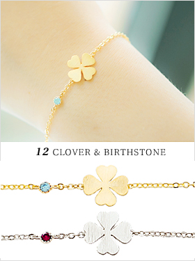 ★행운&탄생석★12클로버 탄생석 bracelet