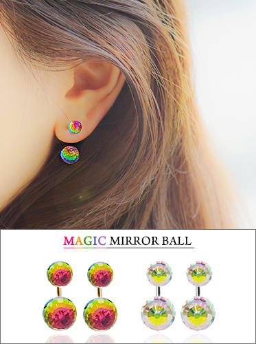 ★실버침★ 매직미러볼 투웨이 earring