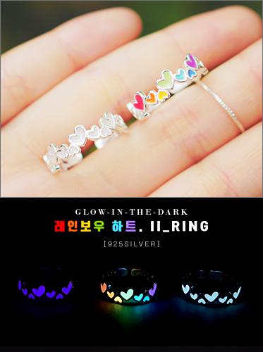 [주문폭주]★925실버★로아, 레인보우 하트II ring