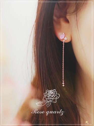 ★실버침★사랑의 속삭임Ⅱ Earring[천연장미수정]